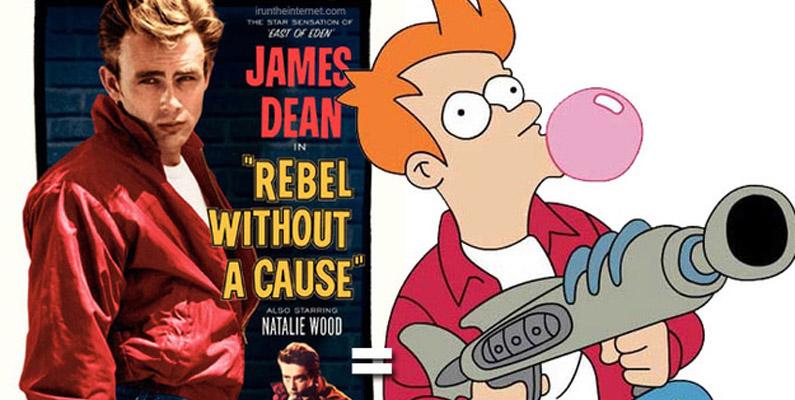 """Kläderna som Fry bär på i Futurama är inspirerade av utstyrseln som James Dean bär på i filmen """"Rebel Without A Cause""""."""