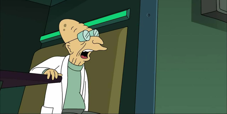 Professor Farnsworth - som du ser här på bilden - är uppkallad efter Philo Farnsworth, uppfinnaren av TV:n.