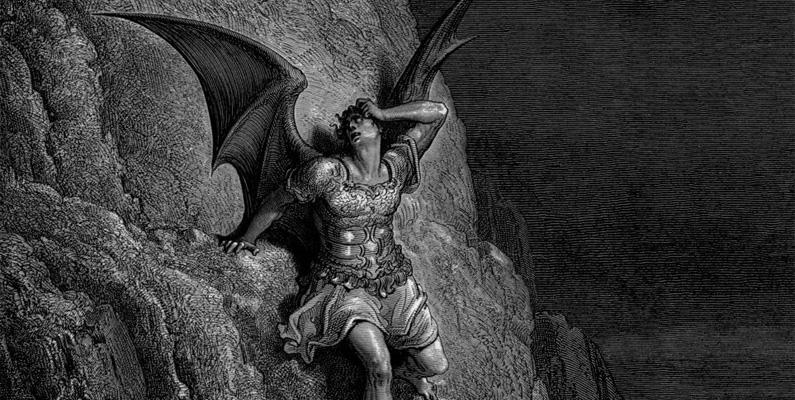 """Prometheus, en figur från grekisk mytologi, stal eld från gudarna och gav den till mänskligheten. Han straffades hårt för denna handling, som ses som en metafor för att ge människor kunskap som gör att de kan existera utan gudarna - de kunde nu """"se i mörkret"""". Lucifers avvisning av Gud i den kristna traditionen ses som en liknande handling av trots och bemyndigande."""