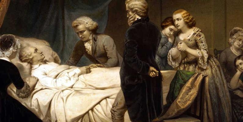 """George Washington dog när hans läkare försökte bota hans struplock (det vill säga inflammerad hals) med åderlåtning - en äldre medicinsk terapi. Med hjälp av en koppa tappades blod ur kroppen, vilket skulle få """"det sjuka"""" att komma ut genom blodet. Han tappade mer än hälften av sitt blod innan de slutade behandlingen och dog bara några timmar senare."""